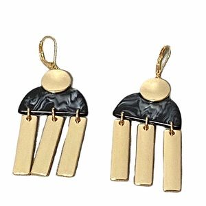 Gold and Black Marble Dangly Earrings